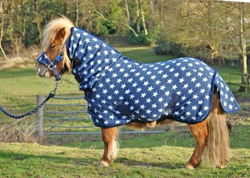 COMBO NAVY STAR FLEECE RUG - SHETLAND SIZES