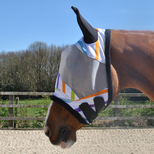 MULTI STRIPE FLY MASK WITH LYCRA EARS