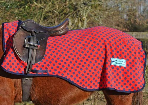 RED WITH NAVY SPOT FLEECE EXERCISE SHEET