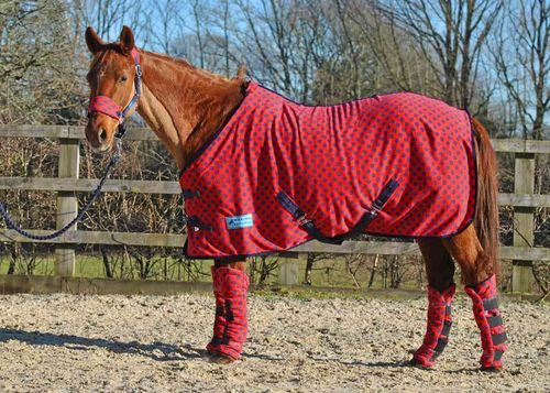 RED/NAVY SPOT FLEECE RUG - STANDARD SIZES