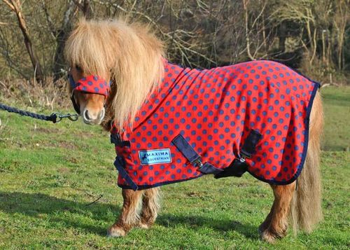 RED WITH NAVY SPOT FLEECE RUG - SHETLAND SIZES