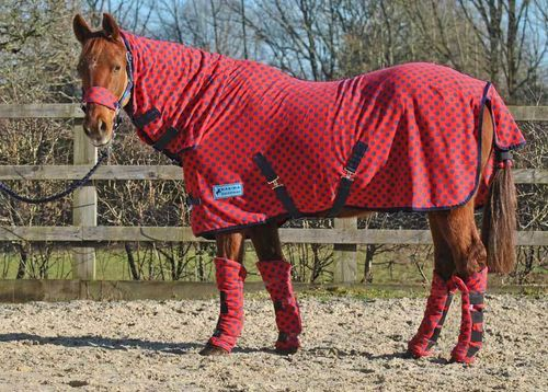 COMBO RED WITH NAVY SPOT FLEECE RUG - STANDARD SIZES