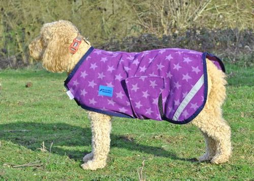 FLEECE DOG COAT - PURPLE STAR - XXXS, XXS & XS