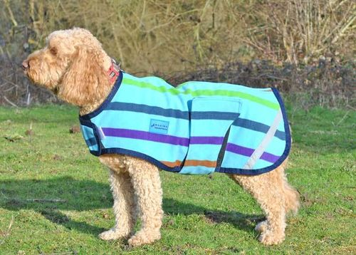 FLEECE DOG COAT - MULTI STRIPE - S & M