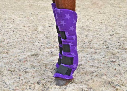 SET OF FOUR FLEECE TRAVEL BOOTS - PURPLE STAR