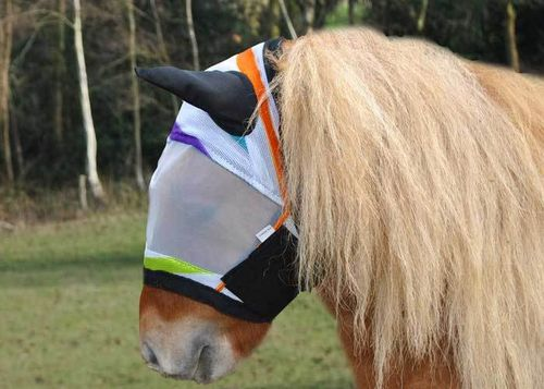 MULTI STRIPE SHETLAND PONY FLY MASK WITH LYCRA EARS