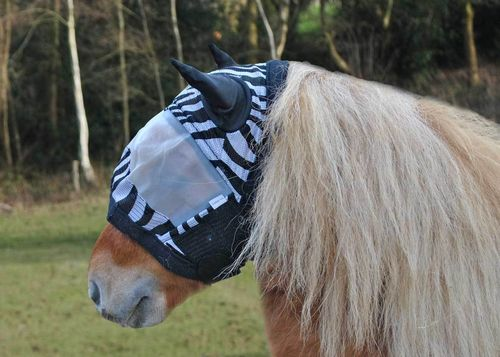 ZEBRA SHETLAND PONY FLY MASK WITH LYCRA EARS