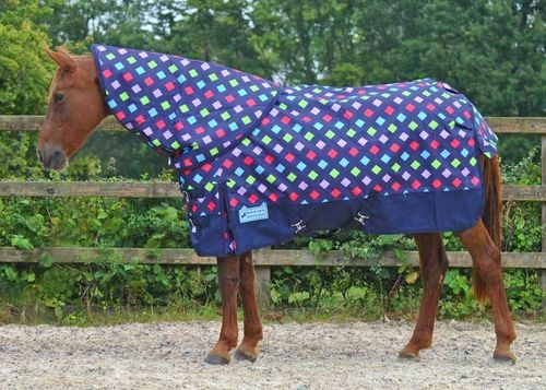 1200 DENIER LIGHTWEIGHT DETACHABLE NECK TURNOUT RUG - MULTI DIAMOND