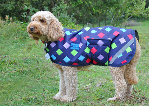1200 DENIER WATERPROOF DOG COAT - MULTI DIAMOND - XXXXS, XXXS, XXS, XS